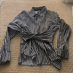 Walter baker black and blue button up